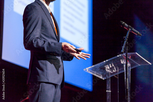 Speaker at business conference or presentation