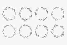 Set Of Hand Drawn Vector Wreaths. Decorative Frames With Bare Tree Branches And Twigs