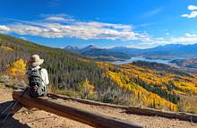 Hiker On Ptarmigan Peak, Summit County, Colorado