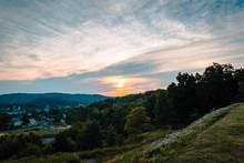 Sunset Over Indiana Pennsylvania From Saint Bernard Church