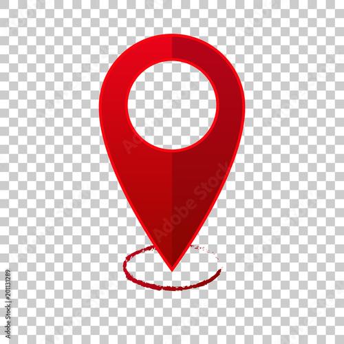 Fotografía  Vector image  positioning on the map