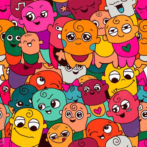 Poster Geometrische dieren Vector illustration of Doodle cute baby background ,Vector hand drawn doodles sketches of babies