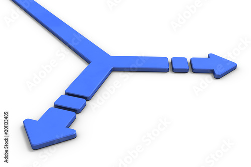 Fotografie, Obraz  分岐点を表すアブストラクト3DCGイラスト