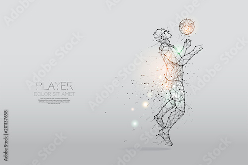 The particles and line dot of football player motion Fototapet