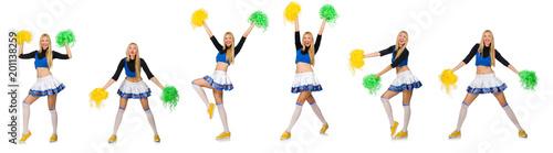 Cuadros en Lienzo Woman cheerleader isolated on the white