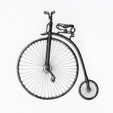 Hand Drawn Antique Bike Isolated On Background