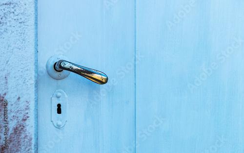 Fotografie, Obraz  Porta azul e maçaneta antiga