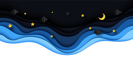 Fototapeta samoprzylepna Night scenery with clouds,stars and crescent moon on midnight sky background paper art style design.Vector illustration.