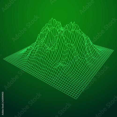 Foto op Plexiglas Groene Wireframe landscape vector background. Cyberspace grid technology illustration