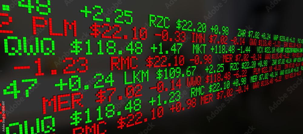 Stock Market Ticker Prices Scrolling Background 3d Illustration