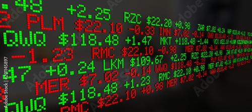 Obraz Stock Market Ticker Prices Scrolling Background 3d Illustration - fototapety do salonu