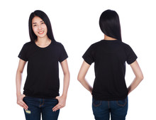Woman In T-shirt Isolated On W...