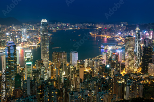 Hong Kong cityscape at night. View from Peak Poster