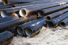 Picture Of Plastic Pipes For Underground Communications.