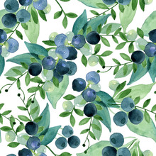 Watercolor Seamless Pattern Of Green Leaves And Blue Berries.