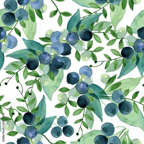 Tapety Kwiaty akwarela-bezszwowe-wzor-zielonych-lisci