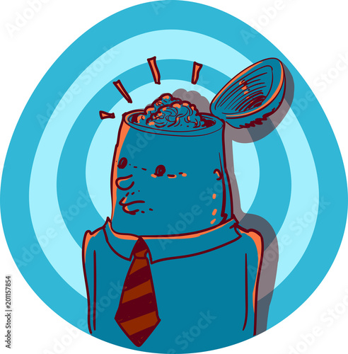 Photo man and brain cartoon style iconographic vector illustration.