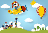 Summer vacation with plane and air balloon, vector cartoon illustration