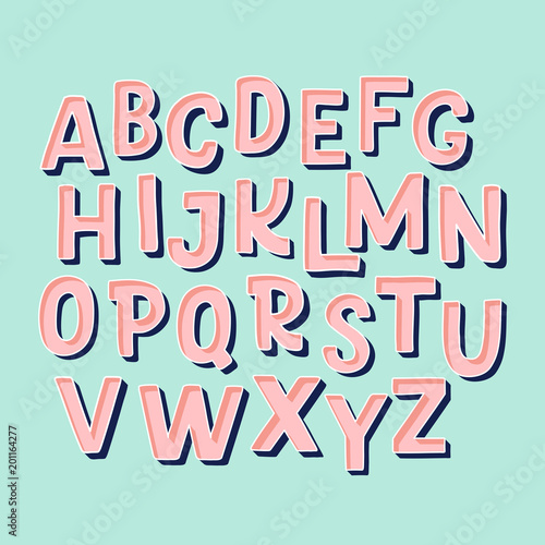 Fotografia Cute hand drawn alphabet made in vector