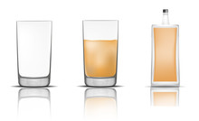 Whisky Bottle Glass Icons Set. Realistic Illustration Of 16 Whisky Bottle Glass Vector Icons For Web