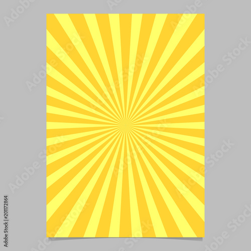 Retro geometrical sun burst brochure, card template - vector stationery background graphic from radial stripe pattern