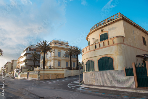 empty street of Anzio on sunset, Italy Wallpaper Mural