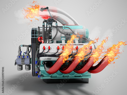 Fotomural Modern powerful internal combustion engine with flame emissions side view 3d ren