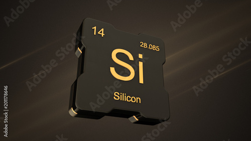 Silicon Element Number 14 From The Periodic Table On Futuristic
