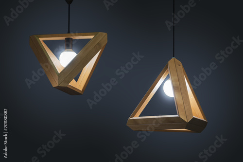 Fotografía Beautiful wooden geometric modern ceiling lamp interior contemporary decoration