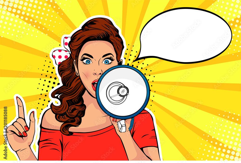 Fotografie, Obraz Girl with megaphone pop art retro vector illustration