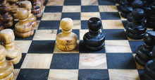 Old Olive Wood Chess Set Board...