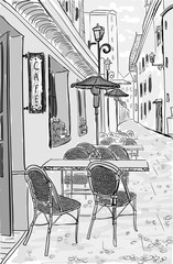 Fototapeta Do kawiarni Street cafe in old town hand drawn sketch illustration