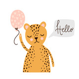 Cute wild cat, hello lettering. Vector greeting card - 201192694