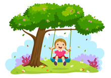 Happy Child Girl Laughing And Swinging On A Swing Under The Tree