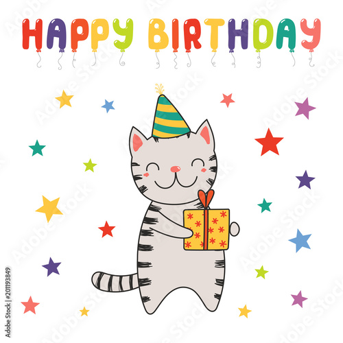 Hand Drawn Happy Birthday Greeting Card With Cute Funny Cartoon Cat