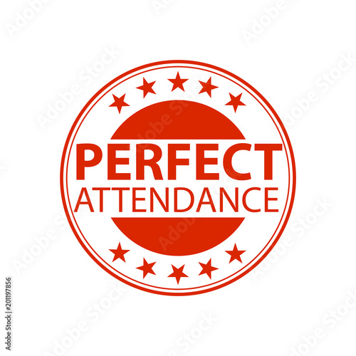 Photo Perfect attendance stamp or emblem. Vector illustration.