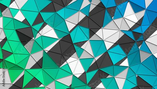 Abstrakcjonistyczny 3d rendering triangulated powierzchnia. Nowoczesne tło. Futurystyczny kształt wielokąta. Low poly minimalistyczny design na plakat, okładkę, branding, baner, afisz.