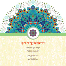Vector Card. Round Floral Pattern With Peacock Feathers. Abstract Insertion For Your Text.