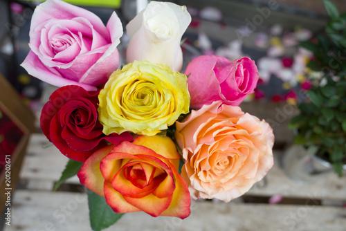Bouquet De Roses Multicolore Buy This Stock Photo And Explore