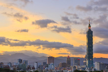 Dawn City And Taipei 101 Tower