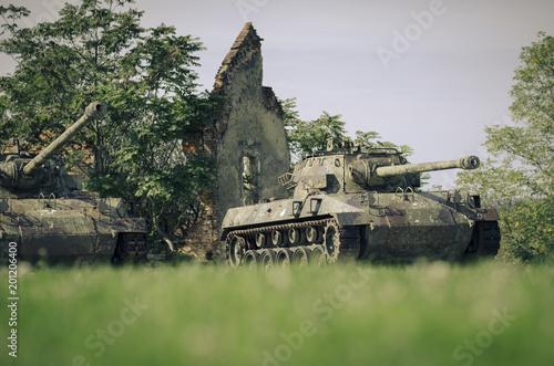 Foto op Aluminium Oude gebouw Croatia, Karlovac, war memorial, tanks