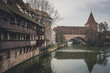Germany, Bavaria, Nuremberg, Old town, Hallertor Bridge, Pegnitz river