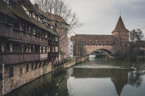 Germany, Bavaria, Nuremberg, Old town, Hallertor Bridge, Pegnitz river