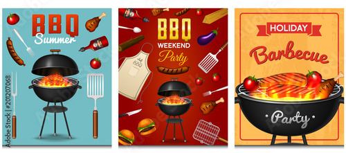 Fototapeta Barbecue grill elements set isolated on red background. BBQ party poster. Summer time. Meat restaurant at home. Charcoal kettle with tool, sauce and foods. Kitchen equipment for menu. Cooking outdoors obraz