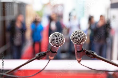 Fotografie, Tablou Press conference. Public relations - PR. Journalism.