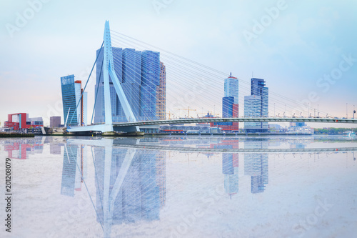 Foto op Aluminium Rotterdam Erasmus bridge across new meuse, luxor theatre, headquaters of KPN, Montevideo, port center of Rotterdam