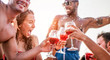 canvas print picture Happy friends drinking sangria wine at exclusive boat party