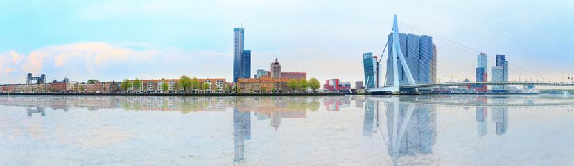 Erasmus bridge across new meuse, luxor theatre, headquaters of KPN, Montevideo, port center of Rotterdam
