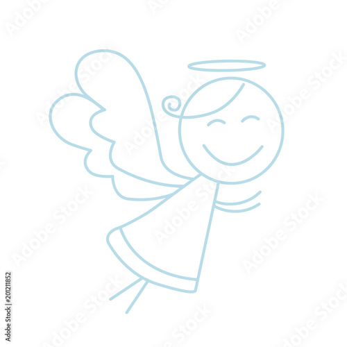 Photo Little angel vector icon. Line angel icon