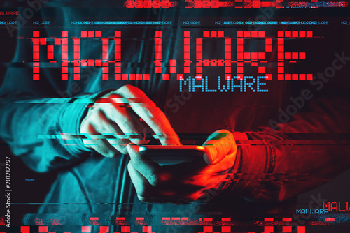 Malware concept with person using smartphone